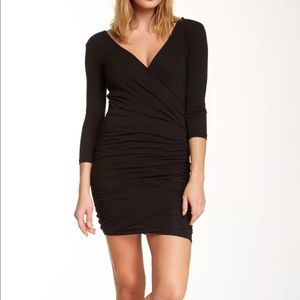 James Perse Ruched wrap tuck dress 3/4 sleeve